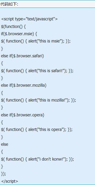 Jquery怎么判断IE6等浏览器的代码?判断代码的方法说明